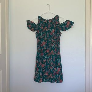 Green Paisley Dress with Off-Shoulder detail